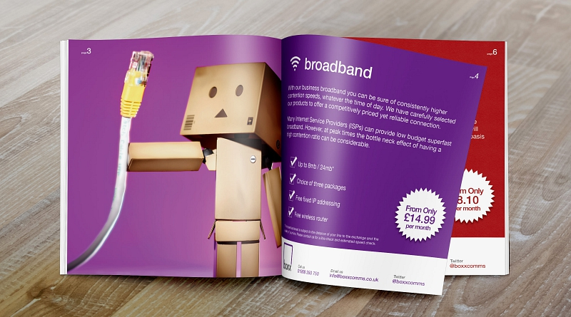 Boxx Comms - Design of 20 page brochure to advertise their products