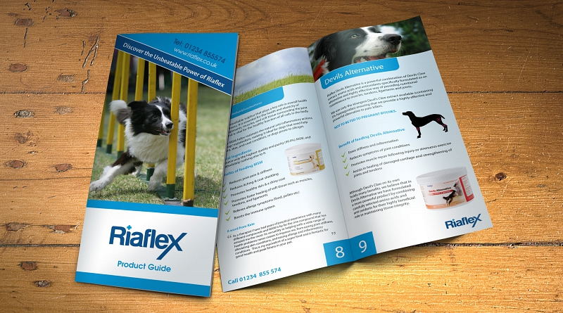 Riaflex Limited - Design of 12 page brochure to promote their canine products