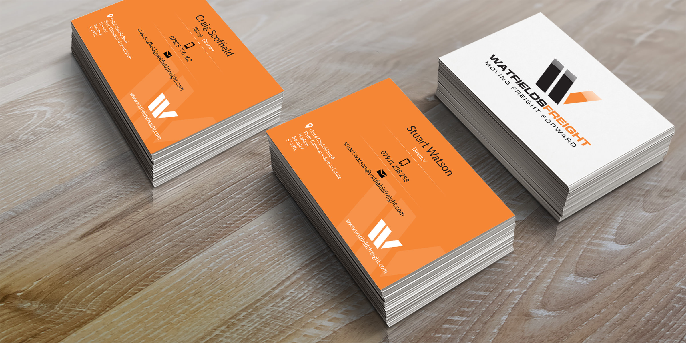 Print design service milton keynes watfields freight design of double sided business cards for two directors watfields freight design of double sided business cards for two directors reheart Images