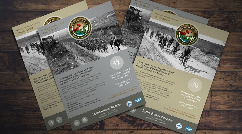 Battlefield Journey - Design of double sided A5 flyer to advertise cycling and walking tours