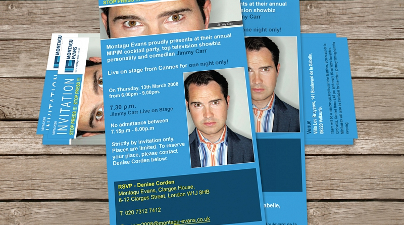 Montagu Evans - Design of double sided flyer to advertise MIPIM event featuring Jimmy Carr