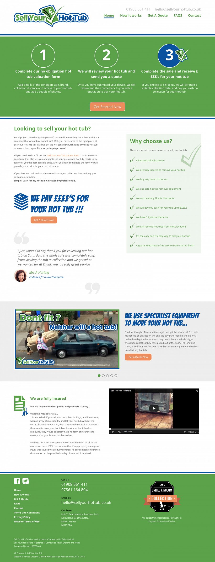 Sell Your Hot Tub Website Screenshot